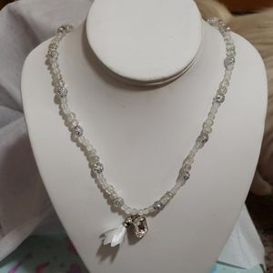 White & silver necklace with white crystal pendant
